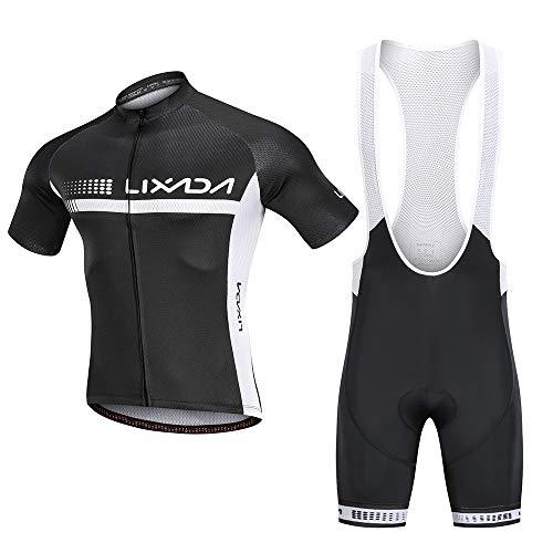 Lixada fietsshirt set, ademend fietspak: korte mouwen fietshemd + 3D gewatteerde draagbroek, sneldrogend materiaal, antislip zoom, 3 diepe rugzakken, reflecterende strepen