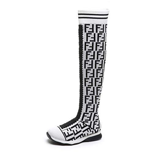 YHZQ Womens over de knie hoge laarzen, mode gebreide sok laarzen, ronde teen platte stretch laarzen, Slip op casual comfortabele wandelschoenen (35-43EU) Wit-EU43