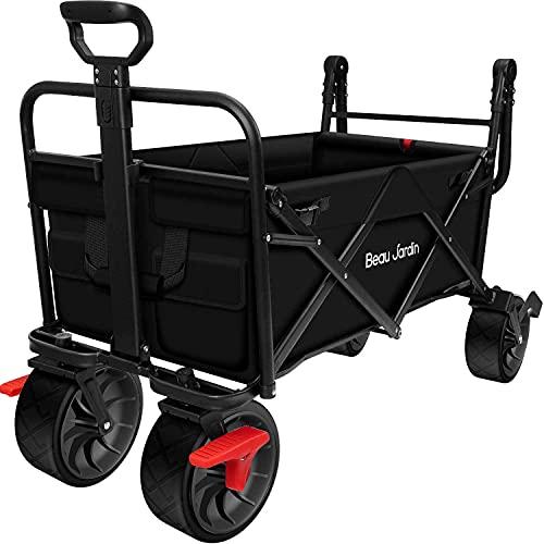 BEAU JARDIN 80KG Capaciteit Vouwwagen Outdoor Push Wagon Trolley met Remaanhangwagen Transport Vrijstaande Opvouwbare Utility Kruidenier Canvas Stof Rolling Buggies Tuin Sport Wagons Zwart
