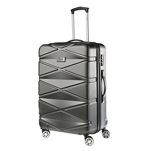 TravelZ Diamond Reiskoffer - Grote TSA Trolley 76cm - Dubbele wielen - Zwart