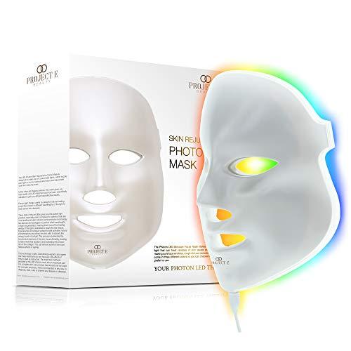 Project E Beauty Huidverjonging Fotonmasker   7 kleuren LED Foton Lichttherapie Behandeling Whitening Anti-aging Acne Spot Littekenverwijdering Gladde rimpels Fijne lijntjes Aanscherping Gezicht Dagelijkse huidverzorging