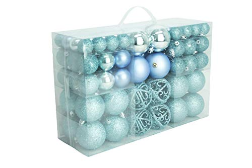 Geschenkestadl Kerstballen, ijsblauw, glanzend, glinsterend, mat, blauw, kerstboomversiering, tot Ø 6 cm, kerstboomversiering, kersthanger, 100 stuks