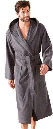 Morgenstern heren sauna badjas met capuchon van puur katoen grijs XL