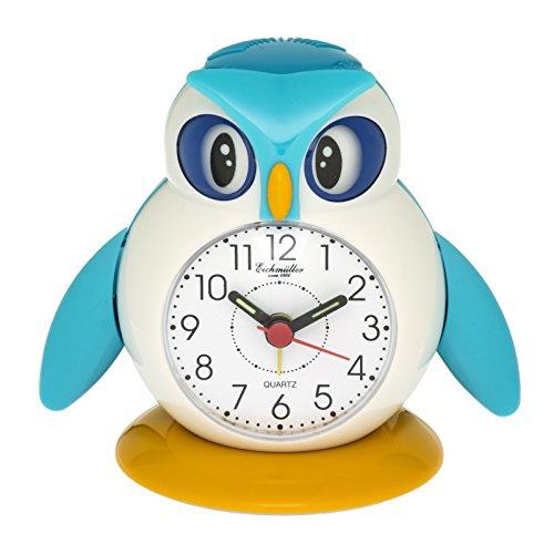 Eichmüller kinderwekker uil blauw analoge wekker met alarm snooze en licht