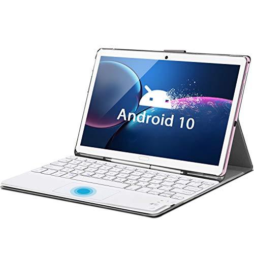 Tablet 10,8 Inch Android 10 Tablet PC met Toetsenbord, Deca-Core, 5G WiFi, 6 GB RAM, 128 GB ROM, 4G LTE-Tablets met Dual SIM-Kaartslot, 8MP+16MP Dubbele Camera, 2560x1600 FHD IPS, Face ID, Type-C, GPS