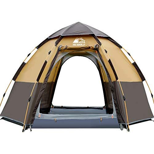 HEWOLF Camping Tent 3 tot 4 Persoon Automatische Pop Up Tent Zeshoekige Hydraulische Tenten Waterdichte UV-bescherming Dome Tent Dubbellaags Ultra Grote Familie Tent voor Tuin Camping Wandeltenten - Camel