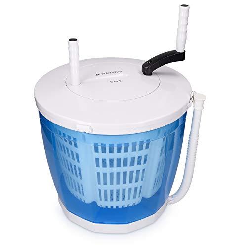 Navaris 2-in-1 mini wasmachine en centrifuge - Draagbare, niet-elektrische wasmachine/droger voor kamperen - Campingwasmachine tot 2 kilo