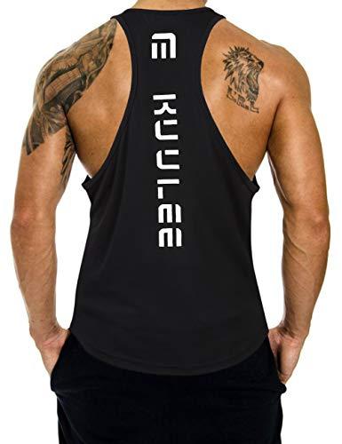 KUULEE Heren Gym Tank Top Stringer Fitness T-shirt Functioneel Sport Shirt Kleding Bodybuilding Training Shirt Mouwloos Vest Spier Shirt Zwart M