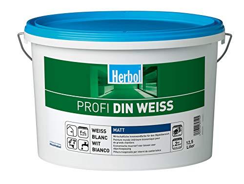 Herbol Professionele DIN witte muurverf binnenverf mat, 12,5 liter