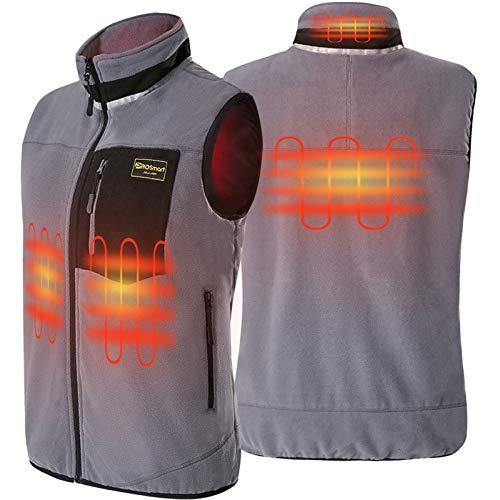 PROSmart Verwarmbaar Vest Lichtgewicht Fleece Verwarmd Vest met USB-Accu, Unisex (Grijs, XL)