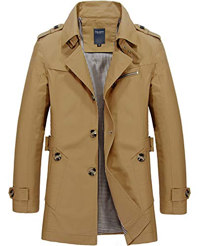 WHATLEES Heren winter jas shirt trenchcoat, Am058-dark haki, XXL