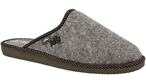 RBJ leather shoes . Herenpantoffels van natuurlijk wolvilt voor een aangenaam gevoel, warm, ademend, natuurlijk, handwerk, kwaliteit, grijs 905A, 46 EU