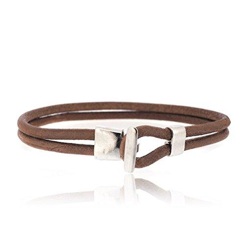 Sovats Hook 925 sterling zilver gerhodineerd bedels met bruine lederen armband voor mannen - Eenvoudige, stijlvolle en trendy nikkelvrije armband