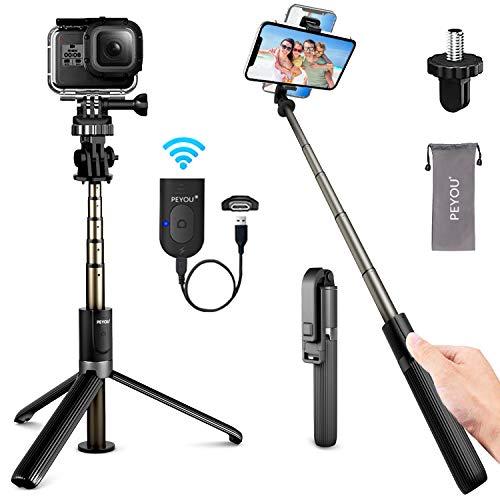 PEYOU Selfie Stick-statief met oplaadbare Bluetooth-afstandsbediening, [Upgrade] 82 cm mobiele telefoonstatieven voor Gopro-camera, uitbreidbare draadloze selfie-stick voor iPhone 12 11 Pro Max/Mini