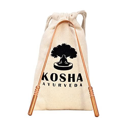 Koperen tongschraper   Perfecte chirurgische tongreiniger   Beste remedie tegen slechte adem   Natuurlijk antimicrobieel en voorkomt mondziekten   Flexibele handgrepen met comfortabele grip   Kosha Ayurveda (Pack 2)