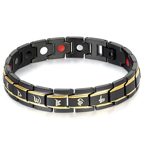 JewelryWe Sieraden herenarmband, boeddhistische Mantra, magneetarmband, roestvrij staal, goud zwart