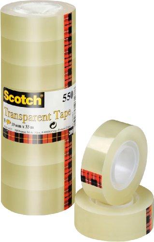 Scotch 5501933 Plakband 550 (19 Mm X 33 M) 8 Rollen, Transparant
