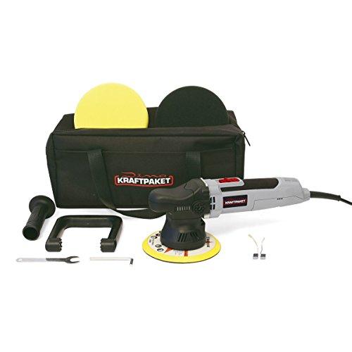 Dino KRAFTPAKET 640220 Excentrische polijstmachine, 9 mm - 650 W, traploos in set met polijstspons, polijstschijf, tas voor auto en boot
