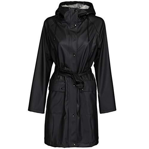 ILSE JACOBSEN HORNBÆK | RAIN70 | Lange Regen Parka voor Dames | Elegant Model | Water- en winddicht | Aanpasbare kap | Polyester met rubberen coating | Black | 38
