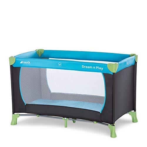 Hauck Dream'n Play, campingbedje 120 x 60 cm vanaf geboorte tot 15 kg, 3-delig campingbedje met draagtas, kantelbestendig , Water (blauw)