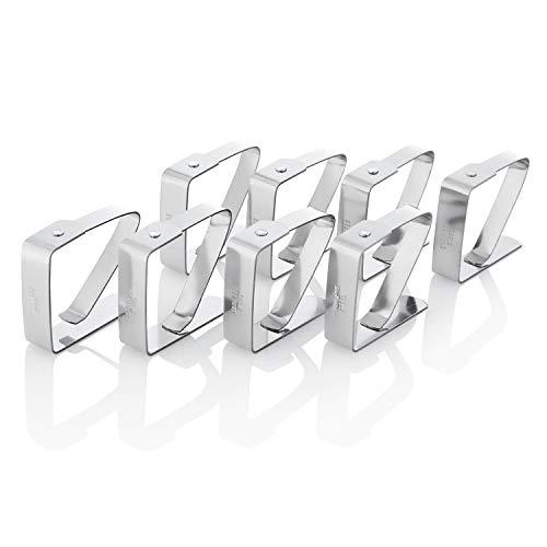 Kerafactum Tafeldoekklem tafelklem tafelklem | van roestvrij staal plafondklem voor het bevestigen van het tafelkleed | plafondklem doekklem klem klem klemmen | zilver 5 x 4 cm 8 stuks