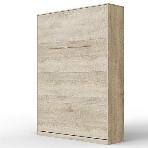 SMARTBett Standaard 140x200cm Vertikaal Sonoma Eik Comfort | Opklapbed, Muur Bed, Klapbed, Kastbed, Opklapbaar Bed