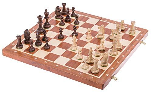 SQUARE - Schaak Toernooi nr. 5 MAHONIE - Schaakfiguren en Schaakbord van hout
