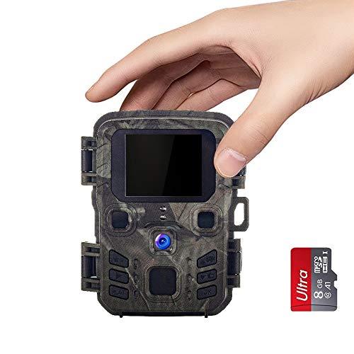 SUNTEKCAM Mini Wildlife Camera 12MP 1080P met Infrarood Motion Activated Sound & Nachtzicht Opname IP65 Spray Waterdichte Game Camera voor Wildlife Monitoring, Tuin, Surveillance Met 8g sd-kaart
