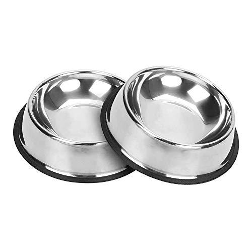 yyuezhi 2 Stuks Food Grade Roestvrijstalen Antislip Voerbak voor Huisdieren Hondenbak met Rubberen Bodem voor Kleine Middelgrote en Grote Honden Voerbak voor Huisdieren en Drinkbak Perfecte Keuze Multifunctionele Voerbakken