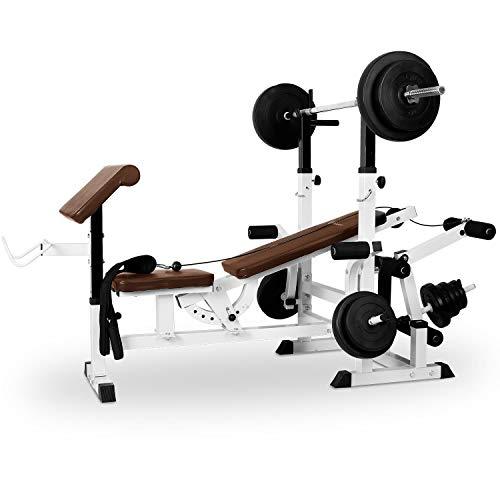 Klarfit Workout Hero 3000 - krachtstation, fitnessstation, trainingsstation, bankdrukken, trekkabel, krultafel, beenkrultang, vlinder, beklede rugleuning + zitvlak, staal, wit