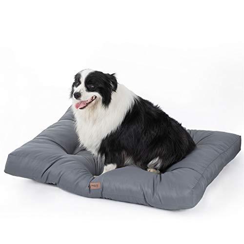 Bedsure Hondenkussen voor middelgrote honden waterdicht 90x68cm - gewatteerde hondenmat hondenmand wasbaar 10cm hoogte