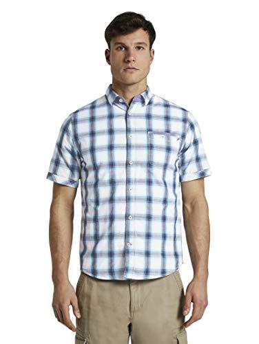 TOM TAILOR Ray Geruite overhemd voor heren, 21936 - Blauwe witte schaduw Ch, M