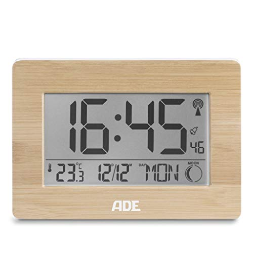 ADE Radiogestuurde klok CK1702. Digitale klok met DCF tijdsignaal, behuizing met echt bamboe, LCD-display, thermometer, wekker en kalender. Inclusief batterij, 2,8 x 22,9 x 16,1 cm