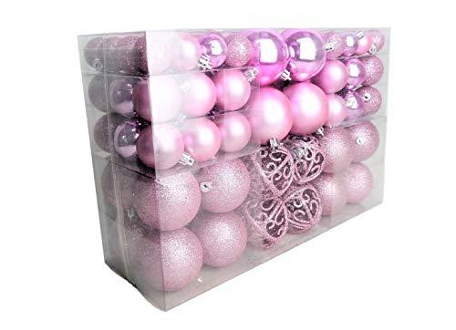 Geschenkestadl Kerstballen, roze, glanzend/glitterend/mat, diameter tot 6 cm, 100 stuks, decoratief