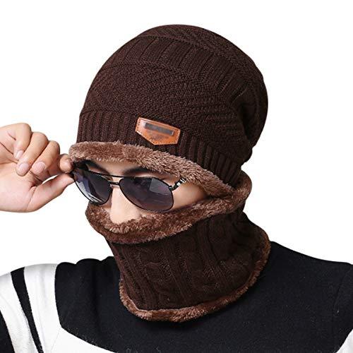 DORRISO Heren dames 2-in-1 gebreide muts kasjmier muts en lus gebreide sjaal, skihoed outdoor sport hoed sets herfst winter gezellig heren dames hoeden