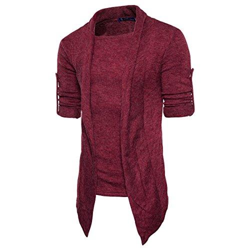 Gebreide jas voor heren, lange mouwen, van katoen, slim fit, casual