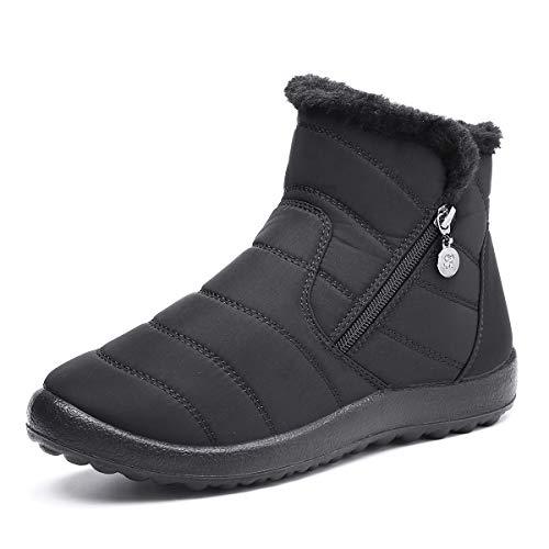 Camfosy Womens winter sneeuw laarzen, waterdicht bont gevoerd warme enkellaarsjes dames outdoor platte wandelschoenen thermische antislip regenlaarzen kant rits slip op brede kalf fitting zwart grijs, Zwart, 38 EU