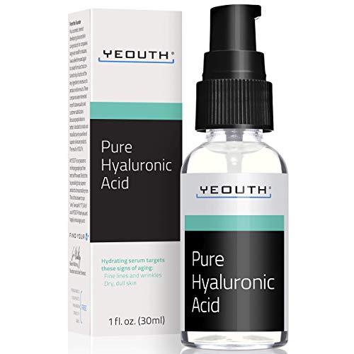 Hyaluronzuur Serum Voor het Gezicht van YEOUTH – 100% Pure Anti Aging Formule! Houdt 1000x het Gewicht in Water Vast, Maakt het Gezicht Voller en Hydrateert de Huid, Verminderd Rimpels – Natuurlijke Moisturizer – Gemaakt in USA