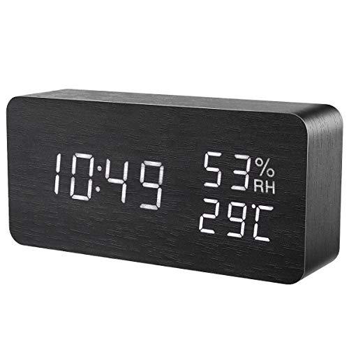 ORIA LED Wekker, Digitale Houten Klok, Multifunctionele Wekker, 3 Afzonderlijke Alarmen, Aanraakgevoelig, Temperatuur, Vochtigheid en Datumweergave, 3 Instelbare Helderheid, USB/Batterijvoeding