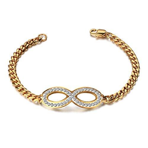 JewelryWe Nieuwe RVS Oneindigheid Vriendschap Armband voor Vrouwen, Kleur Goud, 7.5 Inch Lengte (met Gift Bag)