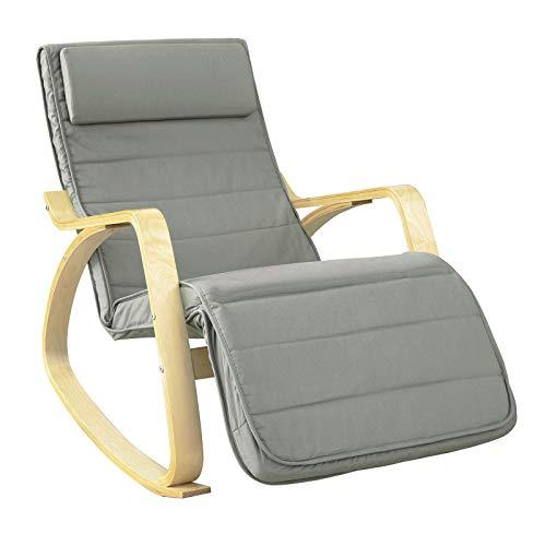 SoBuy FST16-DG Schommelstoel met Verstelbare Voetensteun Relaxfauteuil Comfortabel Verstelbaar Trendy- Grijs