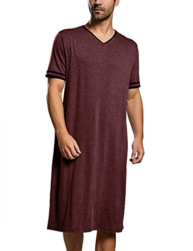 Nachthemd heren korte mouwen pyjama lange nachtkleding eendelig M-3XL losse zomer pyjama nachthemd, A-rood, L