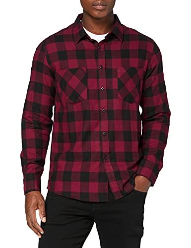 Urban Classics Heren Shirt, Blk/Bordeaux, L
