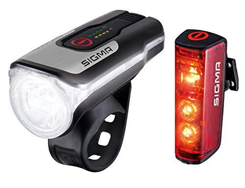 SIGMA SPORT - Led-fietsverlichtingsset Aura 80 en BLAZE   toegelaten op batterijen voor- en achterlicht met remfunctie.