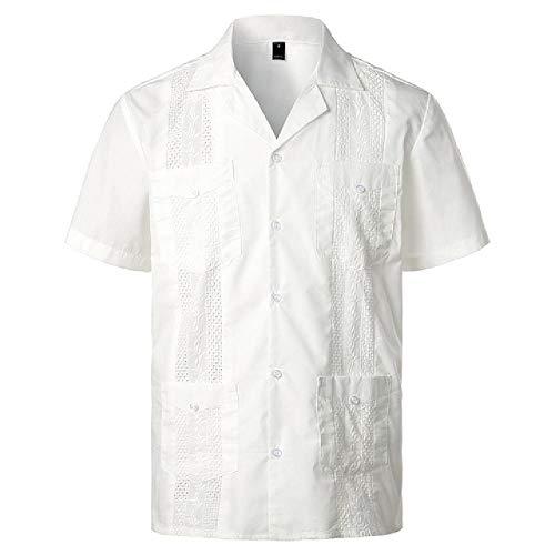 U/A Mannen Kruis Geverfd Guayabera Geweven Button-Down Shirt Merk Korte Mouw Cubaanse Shirt met Revere Kraag, Kleur: wit, XXL
