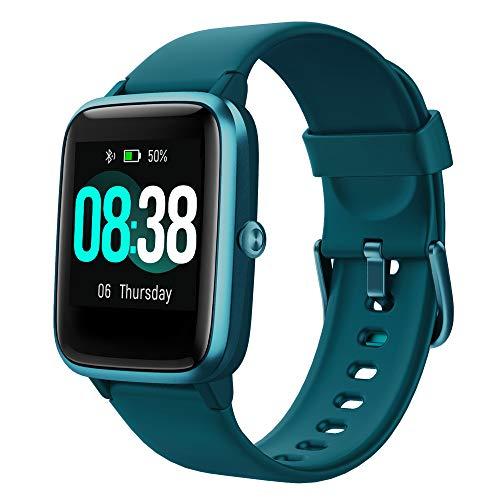 YONMIG Smartwatch, fitnessarmband, tracker, volledig touchscreen, IP68 waterdicht, polshorloge, smart watch met stappenteller, hartslagmeter, stopwatch, voor dames en heren, sporthorloge voor iOS en Android (blauw)
