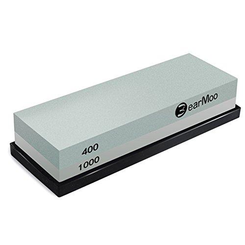 BearMoo Slijpsteen, 2-in-1 slijpsteen voor messen, korrel 400/1000 met antislip siliconenhouder