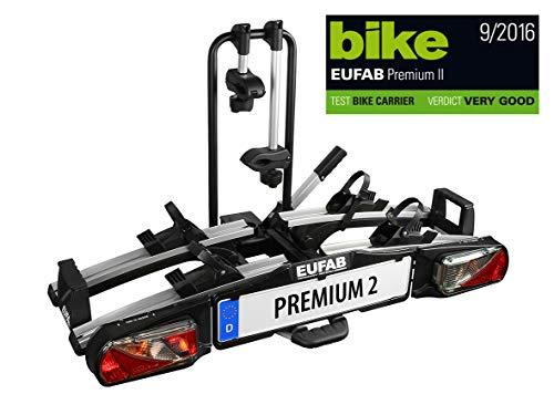 EUFAB 11521 Premium ll Fietsendrager voor trekhaak, geschikt voor e-bikes.