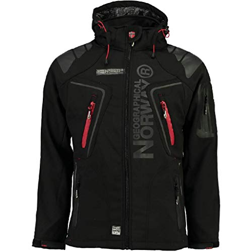 Geografisch Noorwegen TECHNO MEN - Waterdichte Softshell Jacket voor heren - Ademende mantel voor buiten - Tactische Winter Winddichte Jas - Ideale Buitenactiviteiten (ZWARTE L)