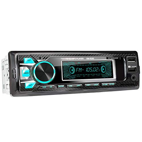 XOMAX XM-R265 autoradio met Bluetooth-handsfreesysteem I Smartphone-oplaadfunctie via 2e USB-poort I Koolstofoptiek I 7 LED-kleuren instelbaar I USB, SD, MP3, AUX I 1 DIN
